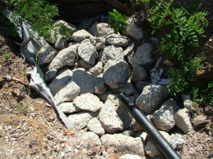 Aggregate prevents erosion when the collected rainwater is released to drainage